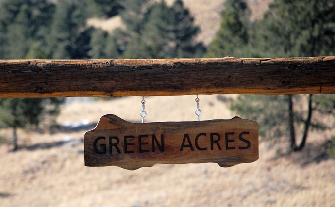 green acres rocky mountain wood ranch sign