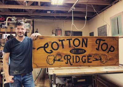 custom wood ranch entrance sign for Cotton Top Ridge by Fat Bison Workshop