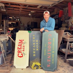 custom wood business signs by Fat Bison Workshop