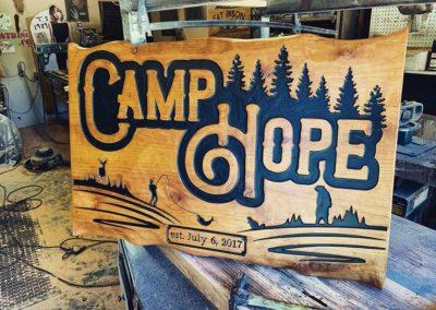 custom wood burned signed for camp hope