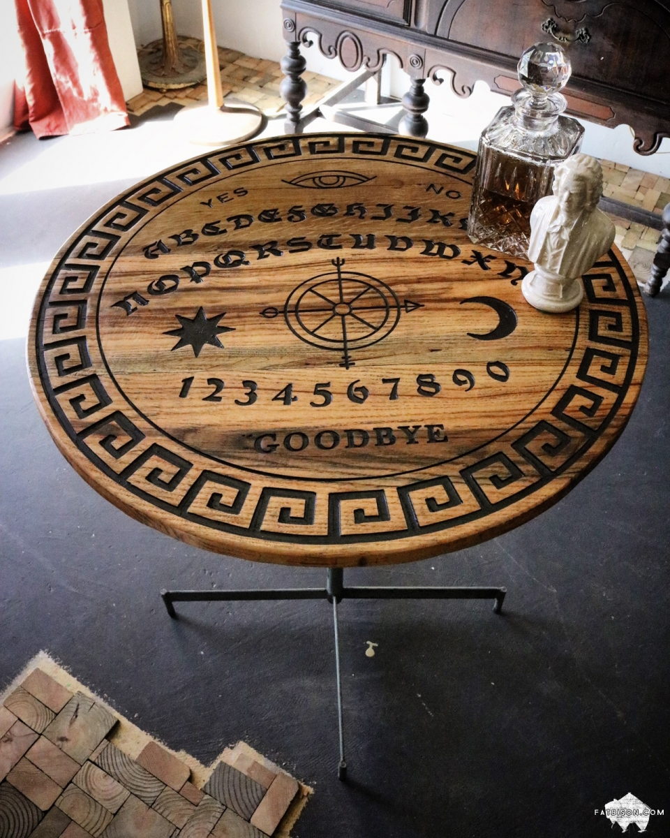 Ouija Board Coffee Table Custom Hardwood Furniture By Fat Bison Fat Bison Workshop